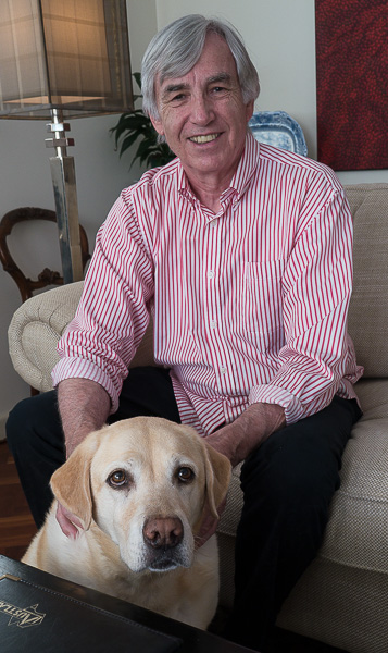 Warren Hatt and Minty the dog portrait image